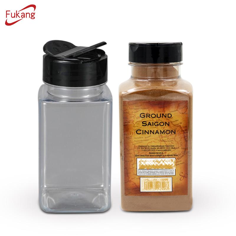 Cocina al por mayor de especias de plástico tarro y botella de sal de pimienta de Chile shaker ajo molino con personalizado tapa
