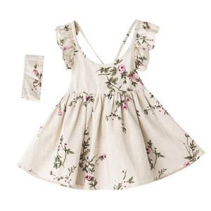 Baby girls clothes summer floral print backless party dresses for children frock design for baby girl