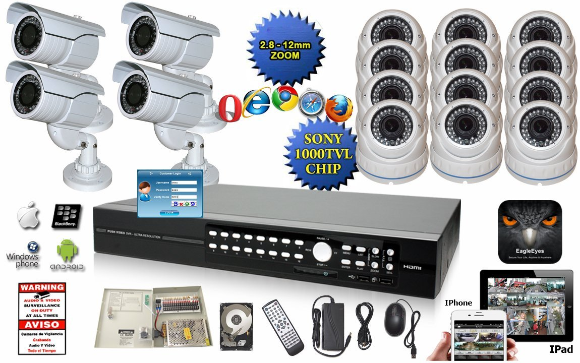 Evertech 16 Channel Push Video EagleEyes DVR H.264 960H Full Security Surveillance System 1000 TV Line Dome & 700 TV Line Bullet IR Outdoor Zoom Cameras + 2 TB HDD + Metal Power Box + Warning Sign