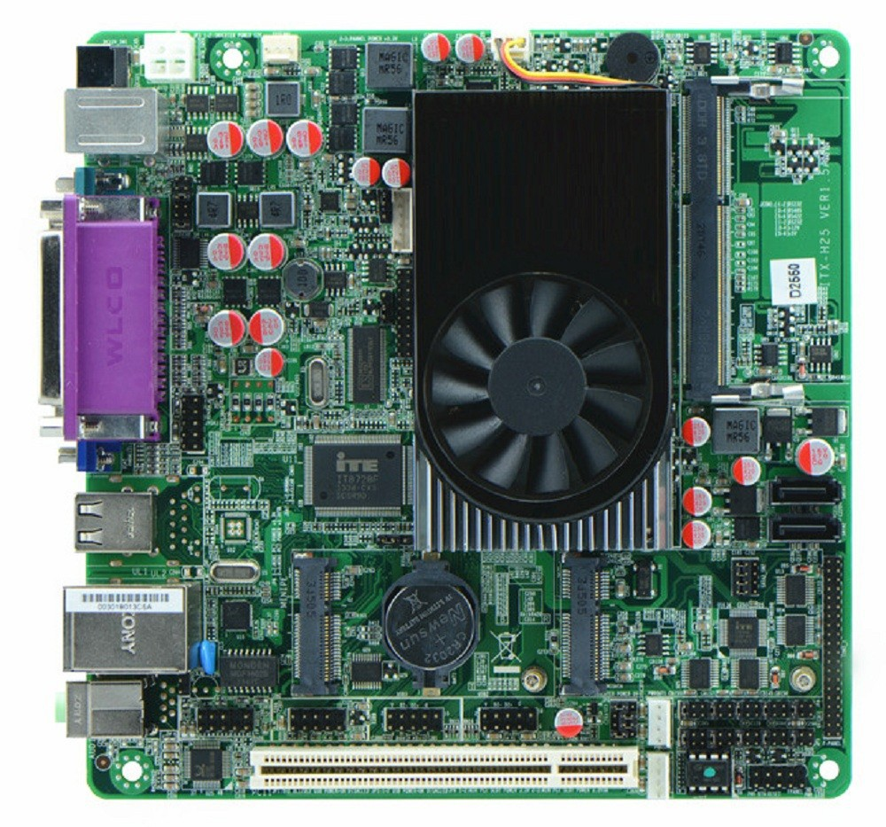IPC motherboard H25_25 custom Atom D2550 1.86G 6COM Queue mini itx motherboard DDR3 6 RS232 24bit LVDS MSATA PCI slot 17*17 MB