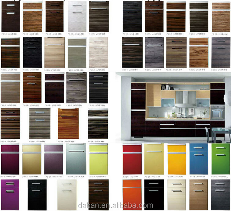 Solid Wood Pvc Mdf Frame Door High Gloss Acrylic Kitchen Cabinet ...