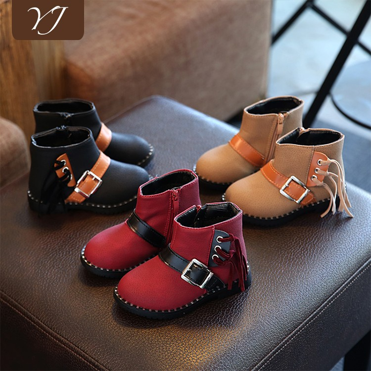 Wholesale boys and girls winter warm flat shoes kids safety boot