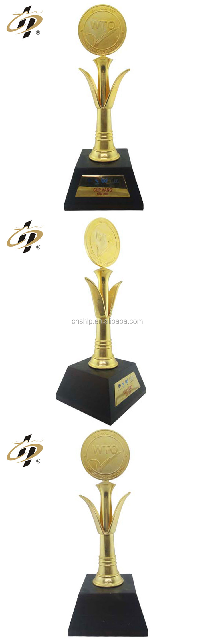Bulk items zinc alloy big size sports metal gold trophy award with gift box