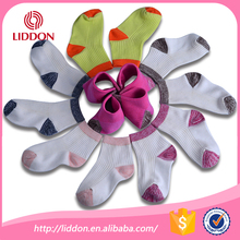 New design style pure organic cotton little kid colored heel and toes socks