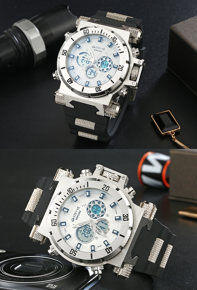 S8015 Men Luxury Brand Digital Men's Watches STRYVE 5ATM Waterproof Casual Sport Watch Wrist Military Clock Relogio Masculino