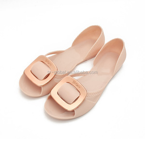 2018 Fashion European Design Ladies Jelly Shoes Cheap PVC Shoe Flat Sandals for Women W2018-26