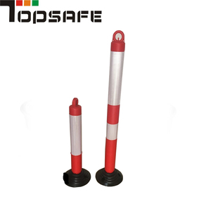 Collapsible 800mm flexible traffic warning post with rubber bottom Colored Traffic Road Cones