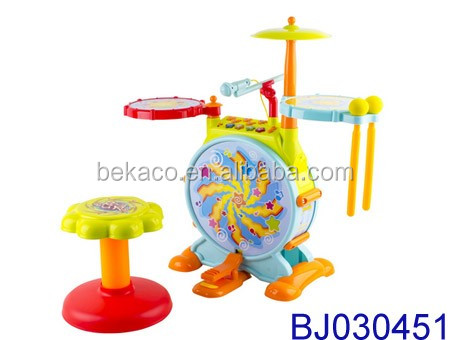 Kids Fun Electronic Drum Set with Adjustable Sing-along Microphone and Sitting Stool