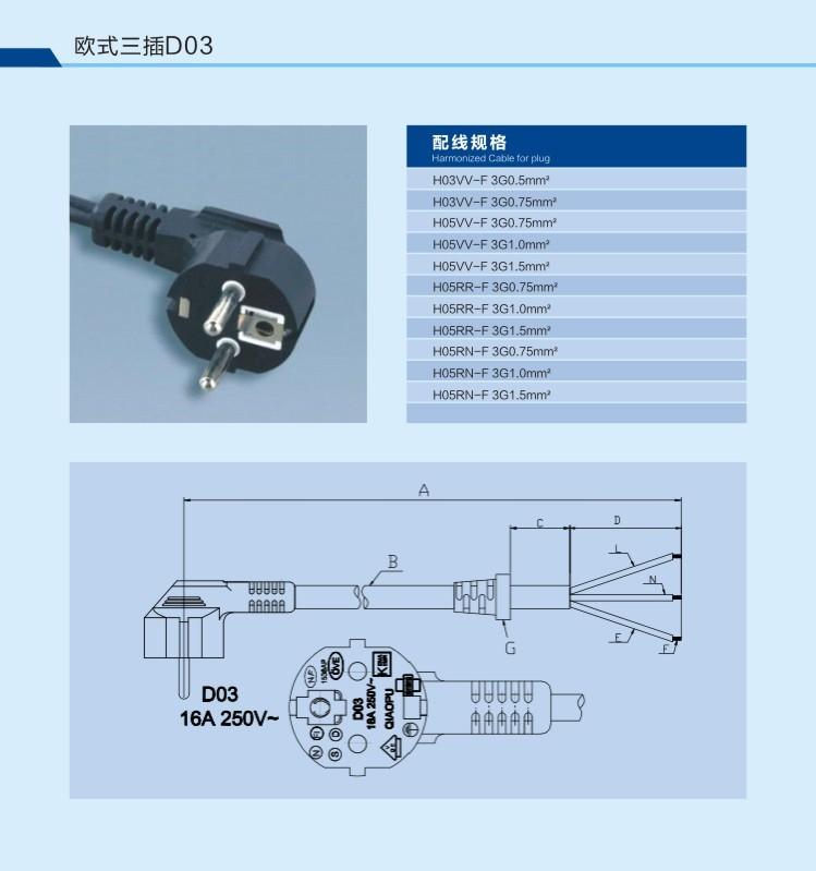 220v Eu Ac 3 Pin Electrical Plug Power Cord Cable - Buy 220v Eu Ac 3 ...