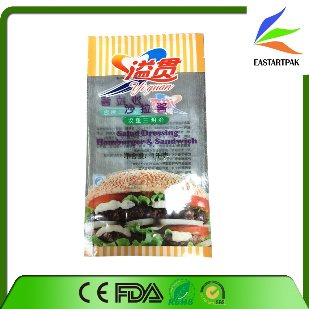 Transparent Plastic Hamburger Sandwich Packaging Bag/Salad Dressing Bag