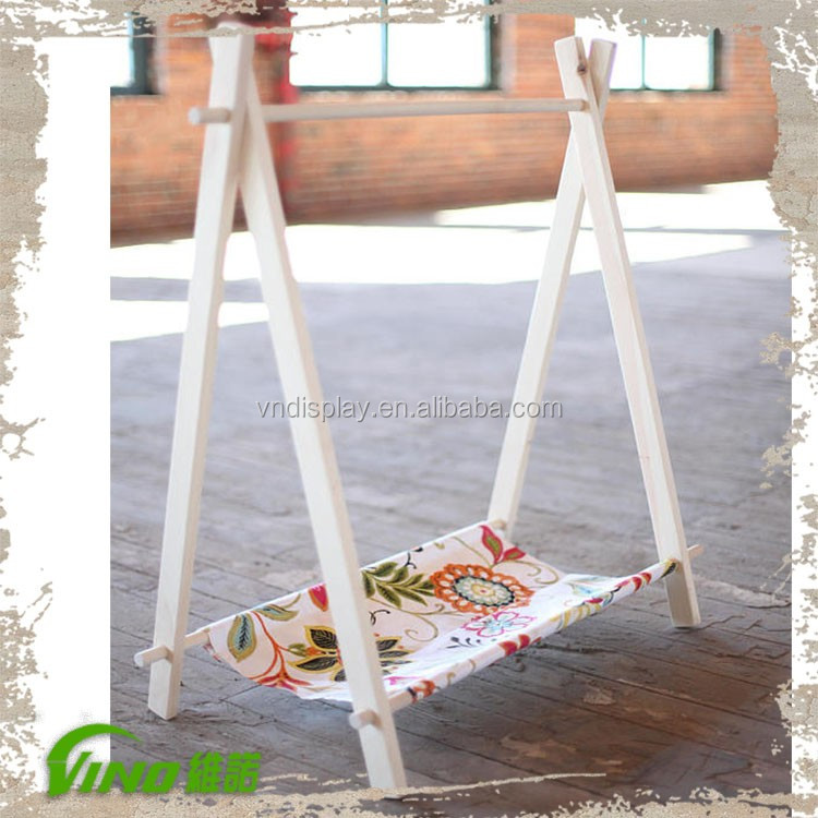 Handmade MINI Children Functional Clothing Stand Ladder Rack, Garment Shop Kid Cloth Hanger, Removable Canvas Baby Choth Shelf
