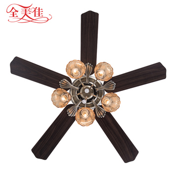 "Guzhen Lighting Market 48"" Wooden 5 Blades 220V Ceiling Installation Remote Control Ceiling Fan With Neon Bulbs"