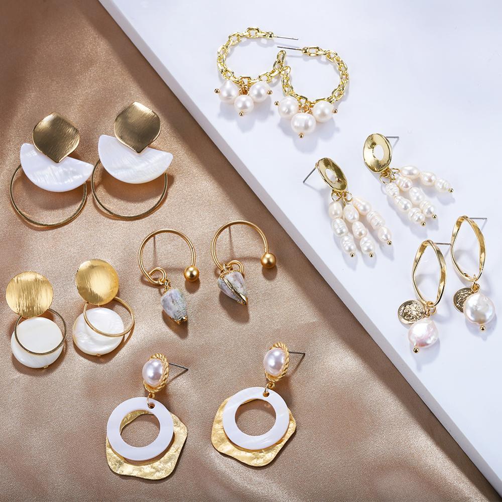 327562e3b8c2 Barlaycs declaración chapado en oro Real Concha Cowrie de cáscara de coco  de perlas de agua