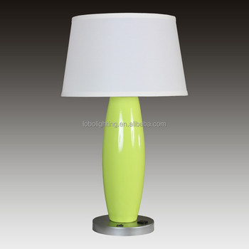 26 Table Lamp Shown In Chartreuse And Metallic Silver With On Off