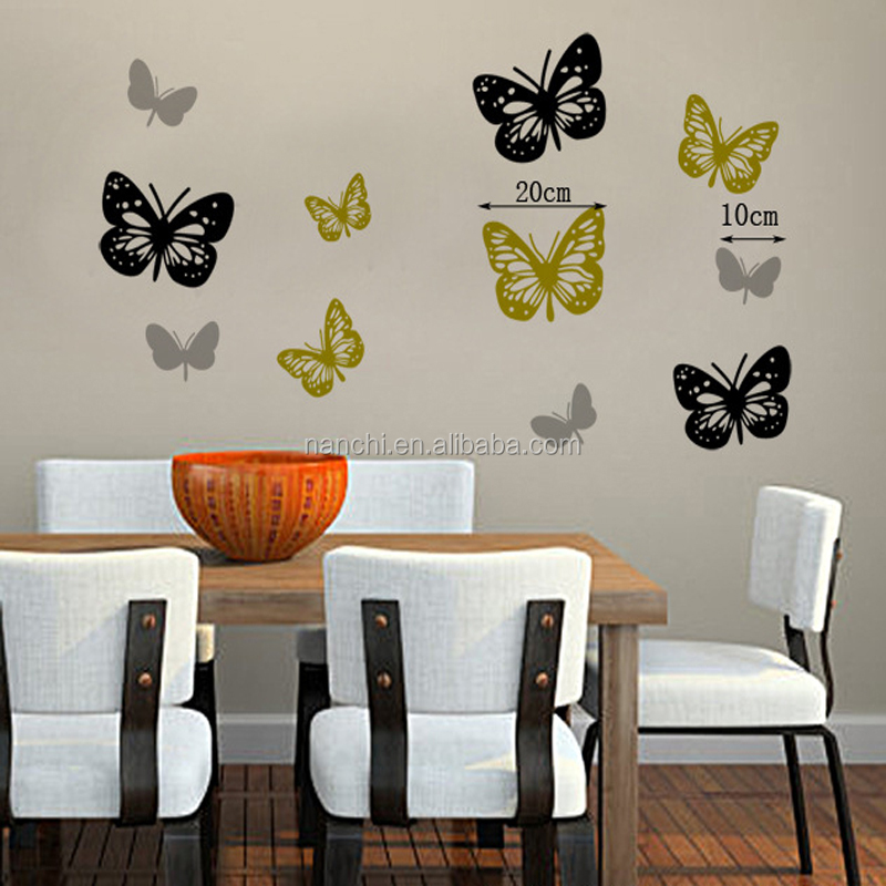 Vendita caldo giallo e nero farfalle wall stickers camera - Wall stickers camera da letto ...
