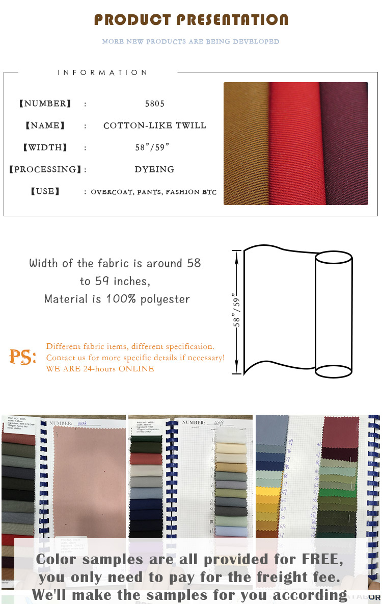 wholesale woven twill style Imitation cotton Double sided slant 100% polyester fabric for Tops, outdoor wear, down jackets, ect