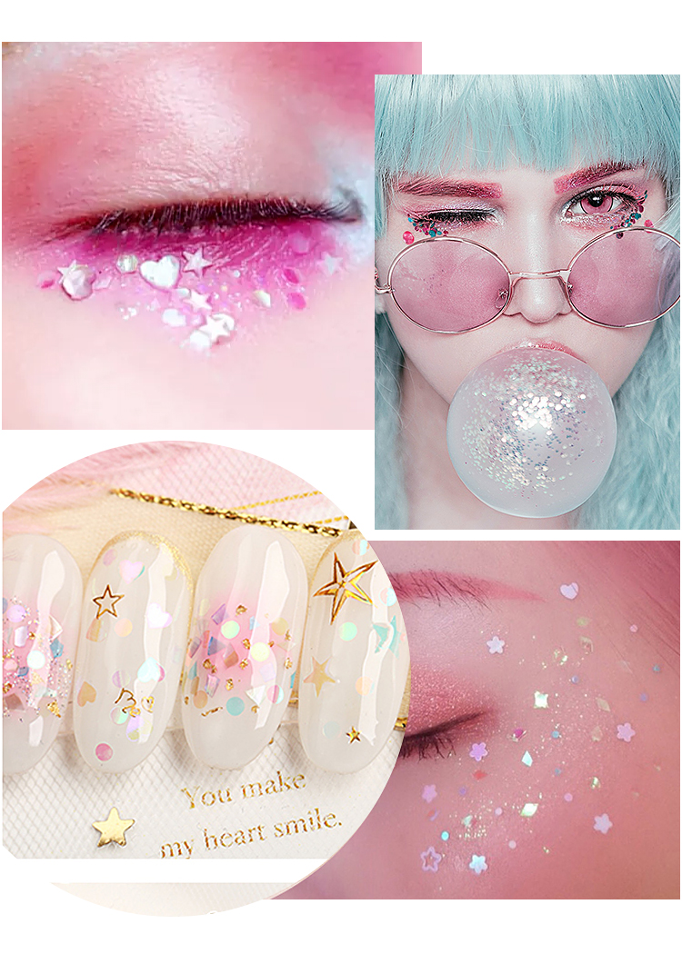 Wholesale 12 colors Art nail Designs glitter Sequins decoration Kit jewelry accessories Sequins sticker for Nail