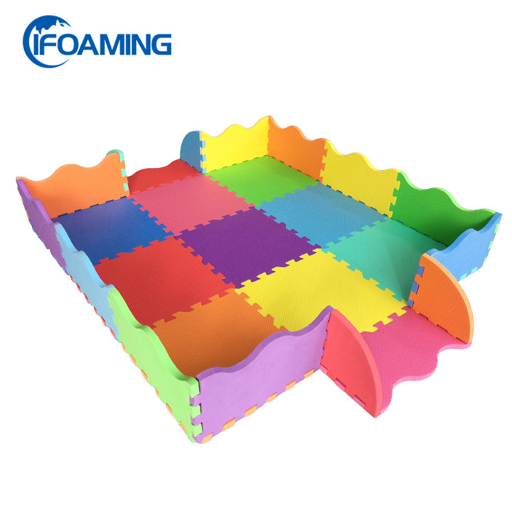 Double Sides Foam Floor Mat with Fence Non Slip Puzzle Play Mat for Infants Activity
