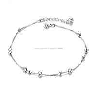 Bead Rope Chain Women Anklet 925 Sterling Silver Adjustable Bracelet