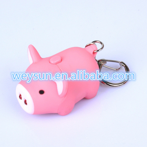 LED Cartoon Animal Keychain Cute pig Keyring with Sound LED Flashlight Toy Keychain