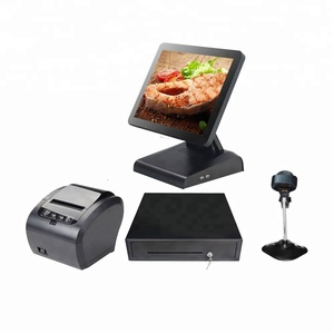 Retail Whole Set 15 inch Touch Screen POS Terminal Cash Register with thermal printer And scanner cash drawer