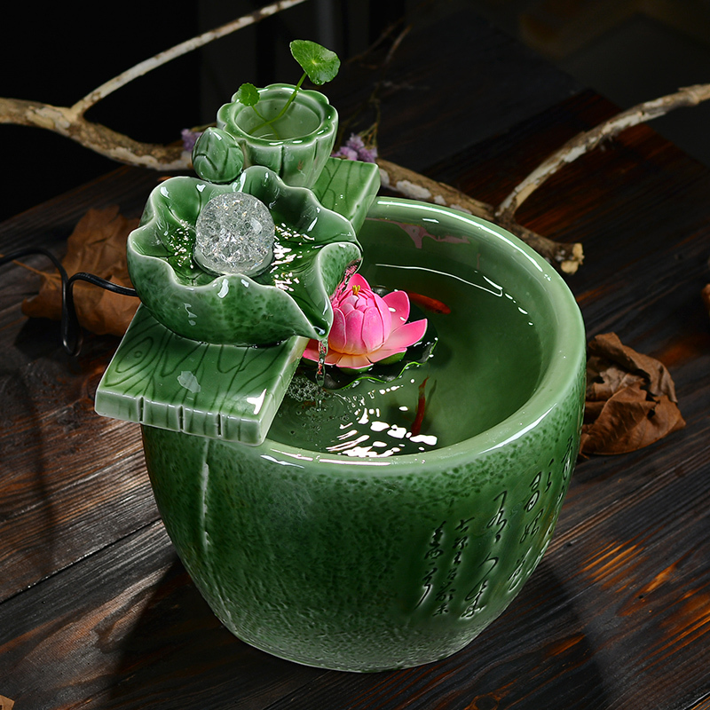 celadon water fountain lucky feng shui home decor gifts round living room humidifier office. Black Bedroom Furniture Sets. Home Design Ideas