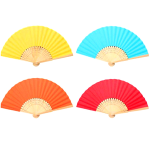 QS brand wholesale high quality bamboo wood rid foldable solid color paper fans gift hand fan