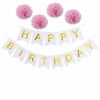 gold foil gold printed happy birthday letter paper banner