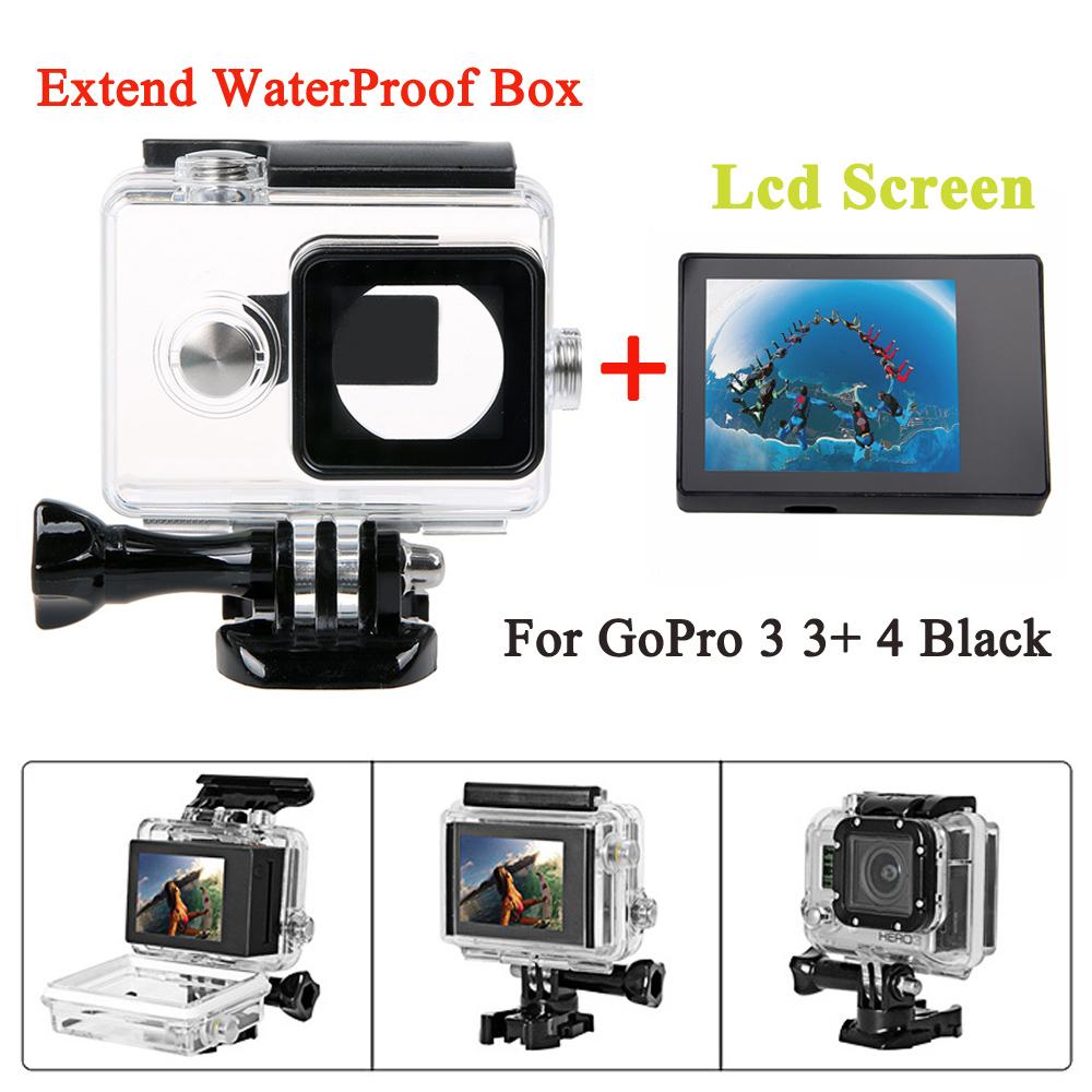 buy gopro hero 4 3 3 bacpac lcd screen 45m waterproof housing case extended. Black Bedroom Furniture Sets. Home Design Ideas