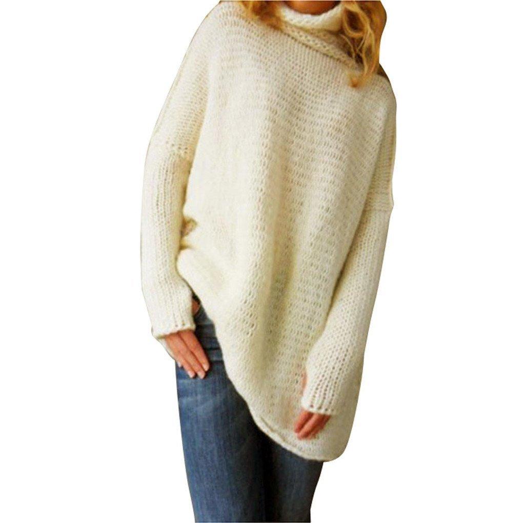 Women Blouse,Haoricu Fall Winter Women Loose Oversize Knit Sweater Jumper Shirt Tops Blouse Casual (XL, Beige)