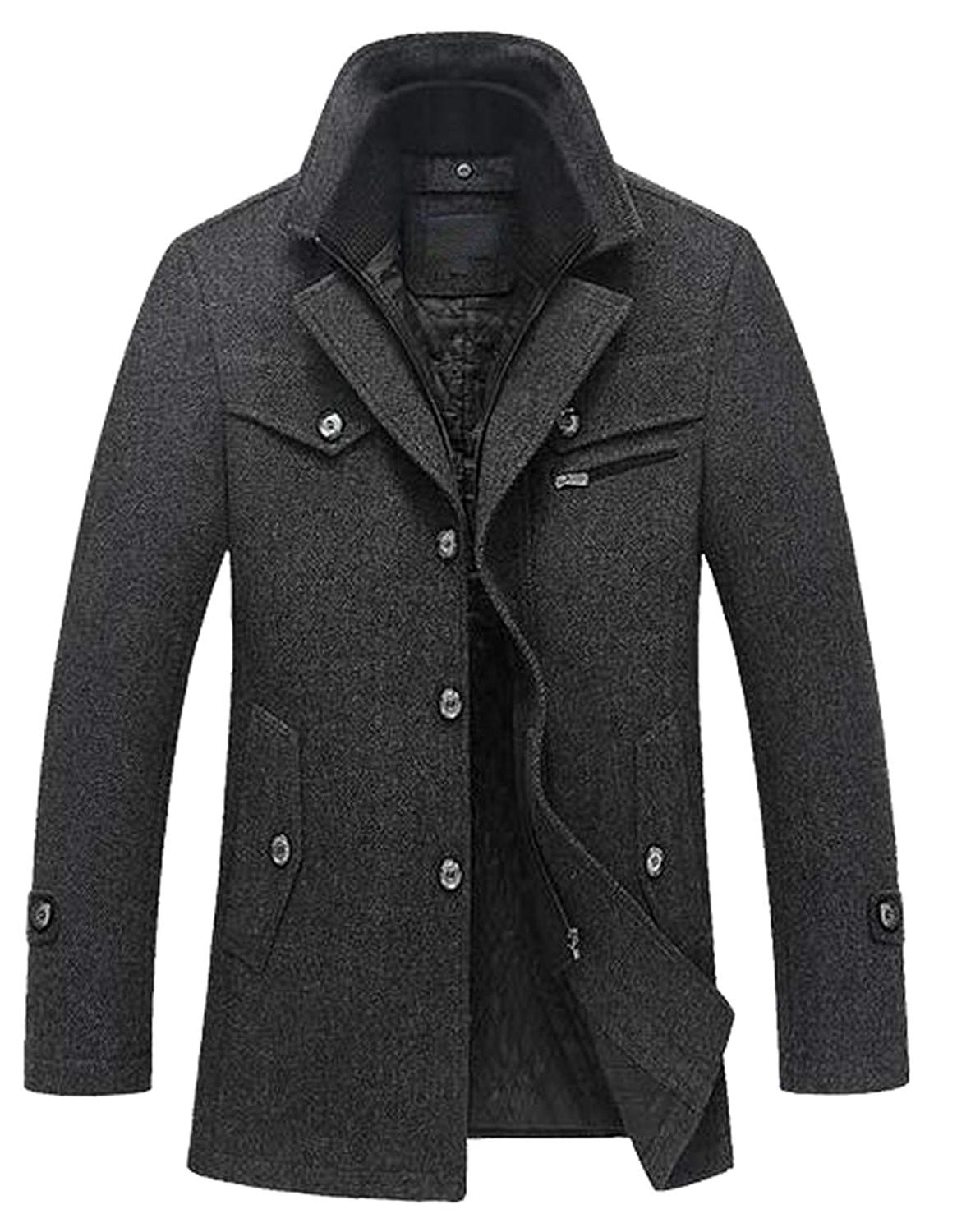 Pandapang Mens Winter Cotton-Padded Warm Spell Color Hooded Parkas Coat
