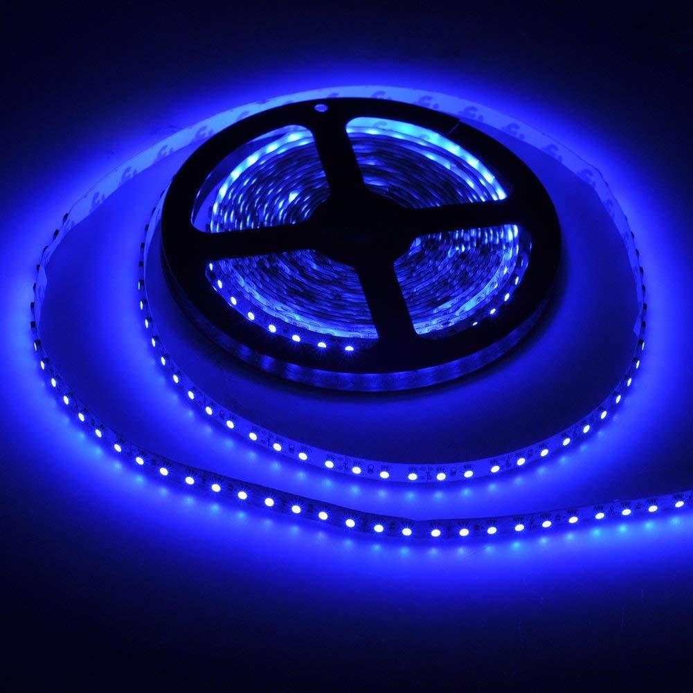 FAVOLCANO LED Light Strip, Blue Non-Waterproof LED Tape Light, SMD 3528, 600 LEDs 16.4 Feet(5M) LED Strip 120 LEDs/M Flexible Tape Lighting