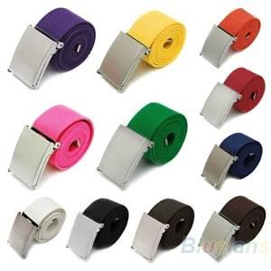 SONGLIIN Candy Color Canvas Men Women Belt Outdoor Casual Versatile Belt,Black