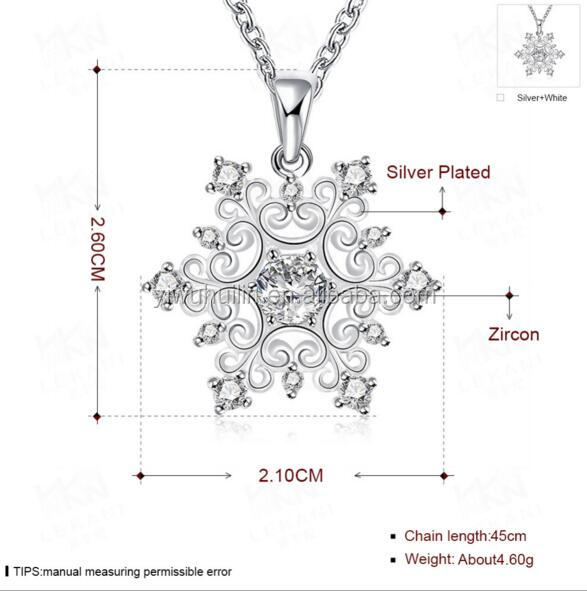 LKN001 Huilin Jewelry snowflake pendant necklace ladies zircon necklaces silver plated wholesale