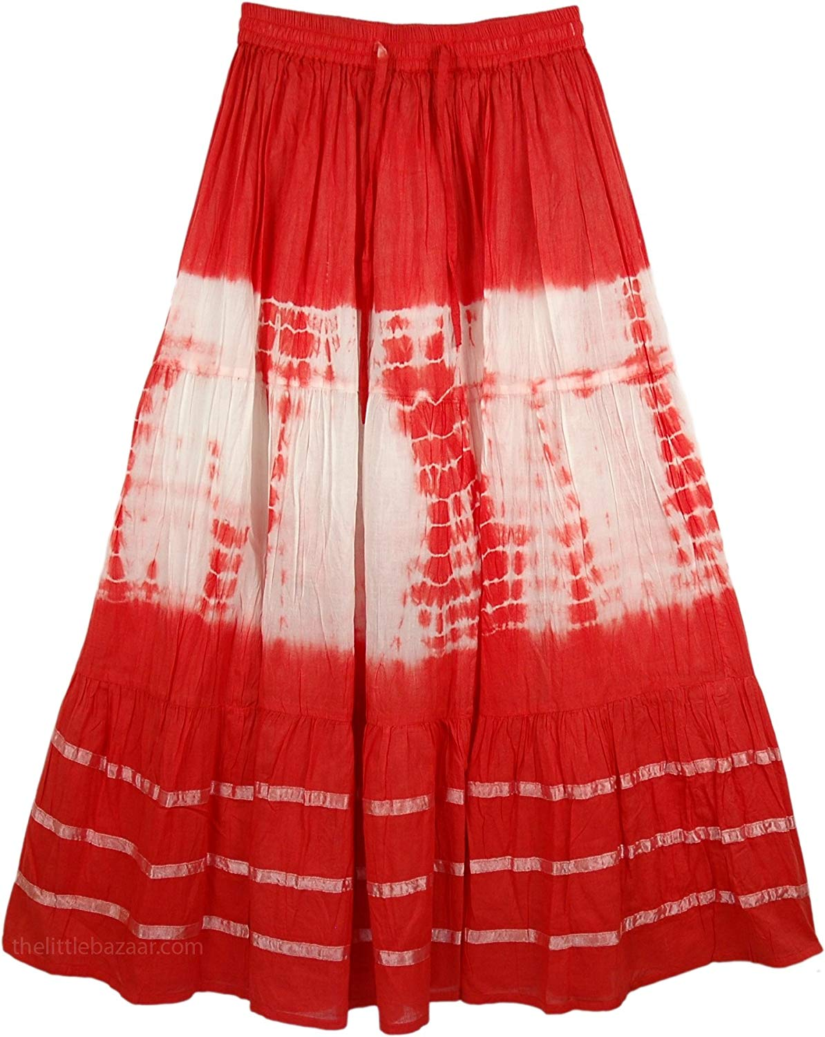 "TLB - Crimson Punch Tie Dye Skirt - L: 35""; W: 24""-32"""