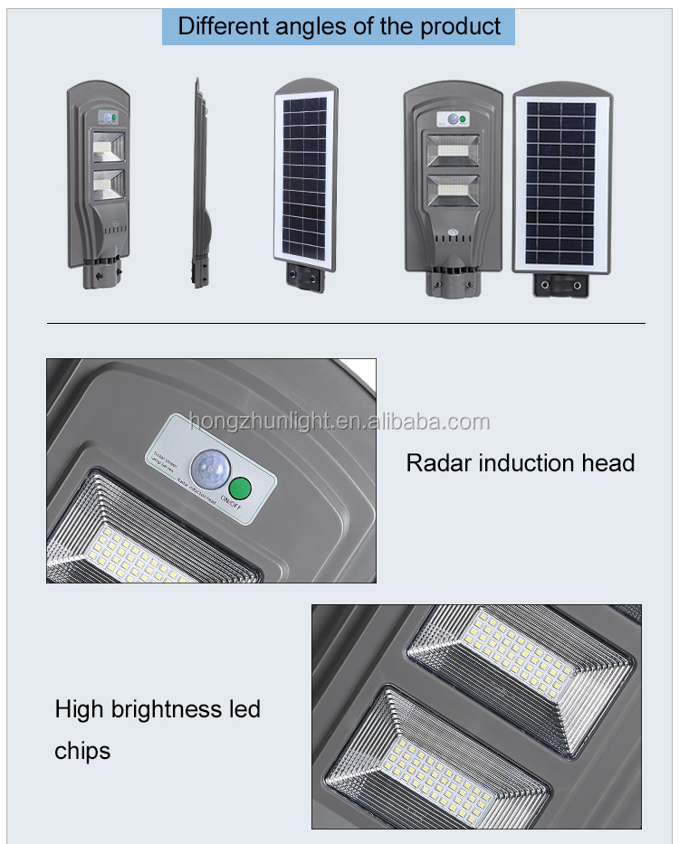 Garden lighting IP65 waterproof outdoor 60w all in one solar power led street lamp