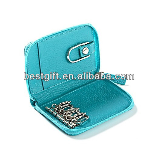 zipper bag keychain, with 2 side pockets and 1 card pocket for cards, zipper closure