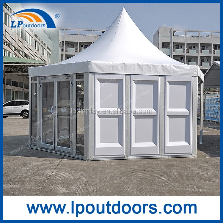 Dia6m Outdoor aluminum frame hexagon pagoda tent with ABS wall for sale