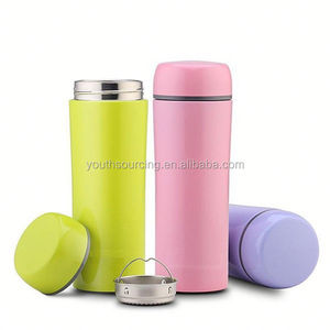 500ml glass inner plastic outer thermos refill vacuum flasks with cup