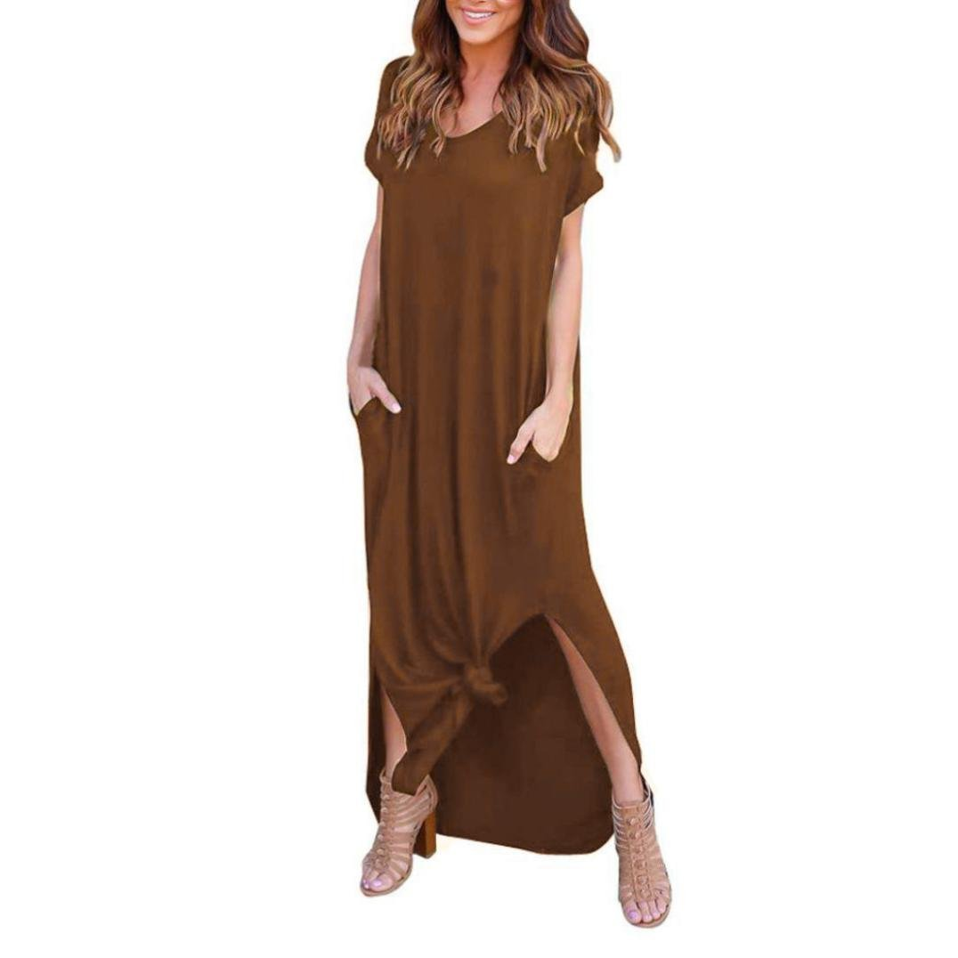 Usstore Dress For Women, 1PC Loose Short Sleeves Solid Dresses Summer Sexy O-neck Evening Floor-Length Casual Long Dresses