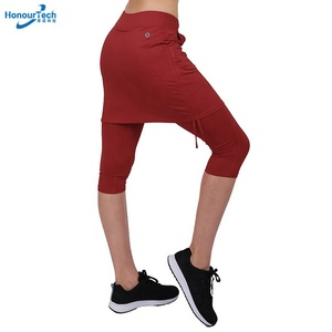 High Quality Solid Color Drawstring Design Running Cropped Trousers Tennis Sports Skirt
