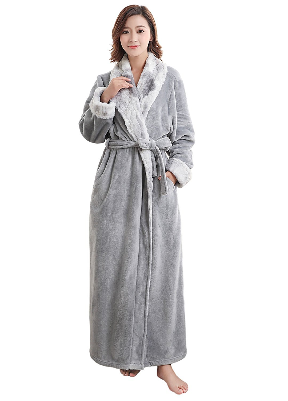 ZXFHZS Mens Flannel Shawl Collar Robe Bathing Thick Sleepwear Nightwear Robes