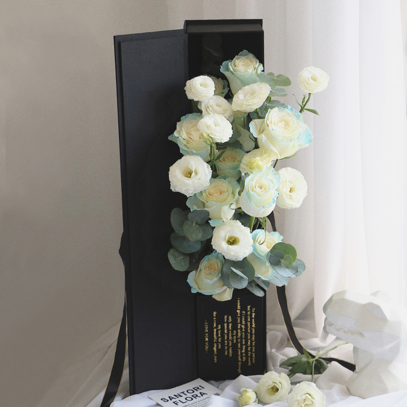 Custom design wedding gifts box for romantic with gold stamping printing flower box for foldable gift box packaging