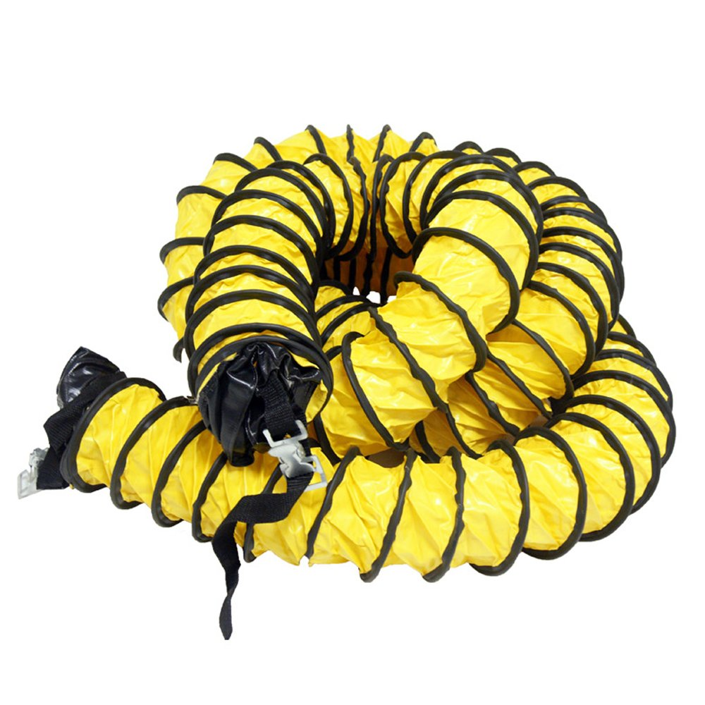 "Rubber-Cal ""Air Ventilator Yellow"" Ventilation Duct Hose (Fully Stretched), 10-Inch by 25-Feet"