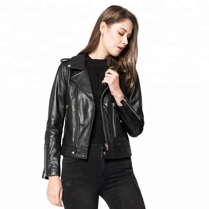 67f830bf512 Винтажная женская тонкий Байкер Мотоцикл RealLeather куртка на молнии в  стиле панк-рок