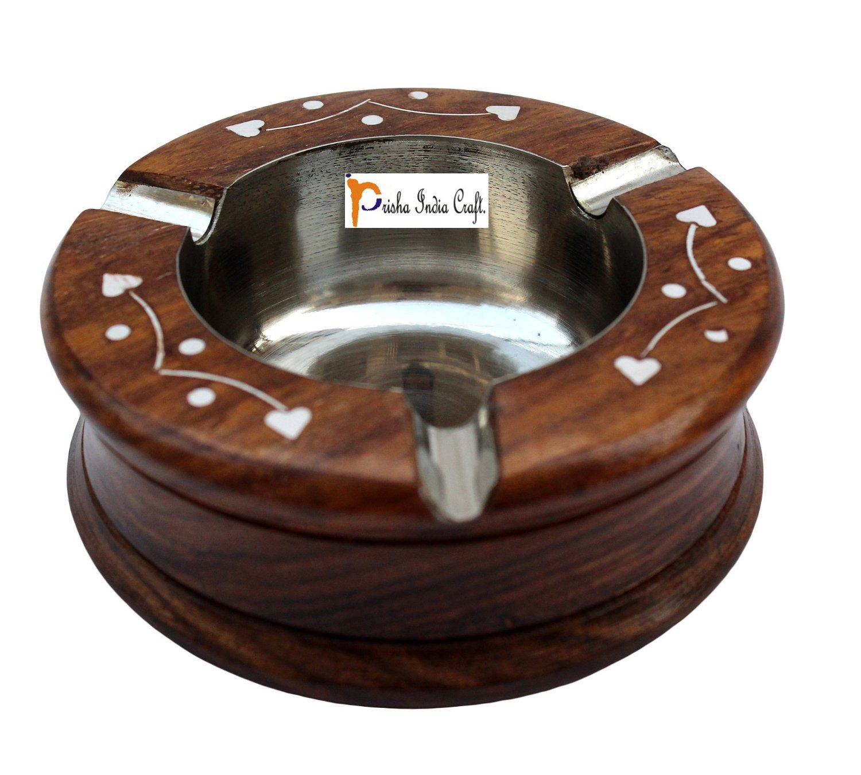"Prisha India Craft 4.0"" Original Wooden Cigarette Ashtray Smoking Cigar Ashtray Home Office Tabletop Ashtray Stylish Furnishing Creative Cigar Beautiful Decoration Craft Smoking Ash Holder Brown"