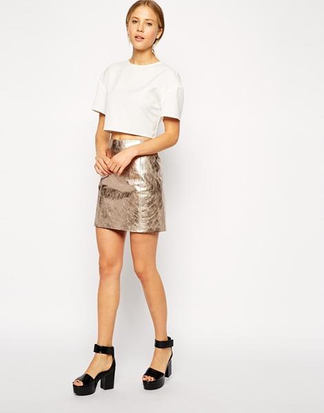 2014 Hot Selling Mini Skirt Shiny Leather Skirt Ladies Short Skirt ...
