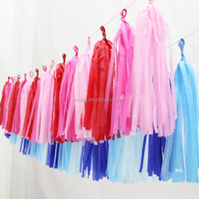 China Light pink wedding Party decoration paper tissue hanging wired tassel garlands for festivals, birthday, holiday decor