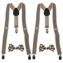 Kids 신장 가능한 Suspender Plaid 활 Tie Set Clip-on SA2943
