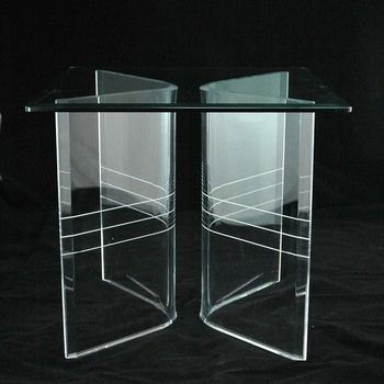 Clear Acrylic Lucite V Shaped Dining Table Bases